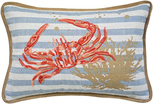 Ocean Sea Crab Coral Coastal Accent Throw Pillow Cushion, for Marine Animal Lovers