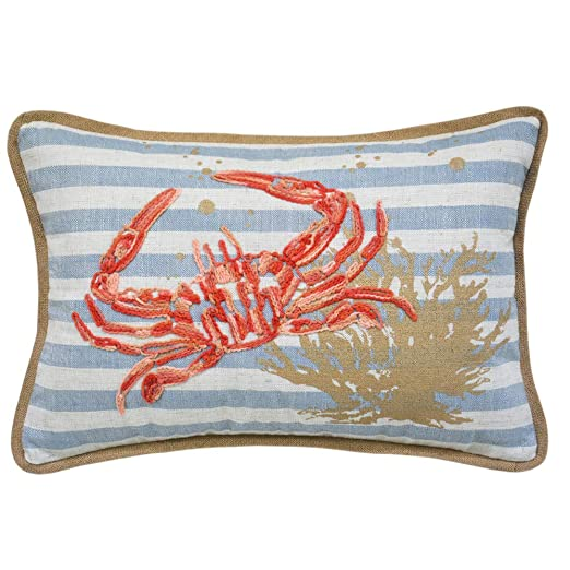 Ocean Sea Crab Coral Coastal Accent Throw Pillow Cushion, for Marine Animal Lovers
