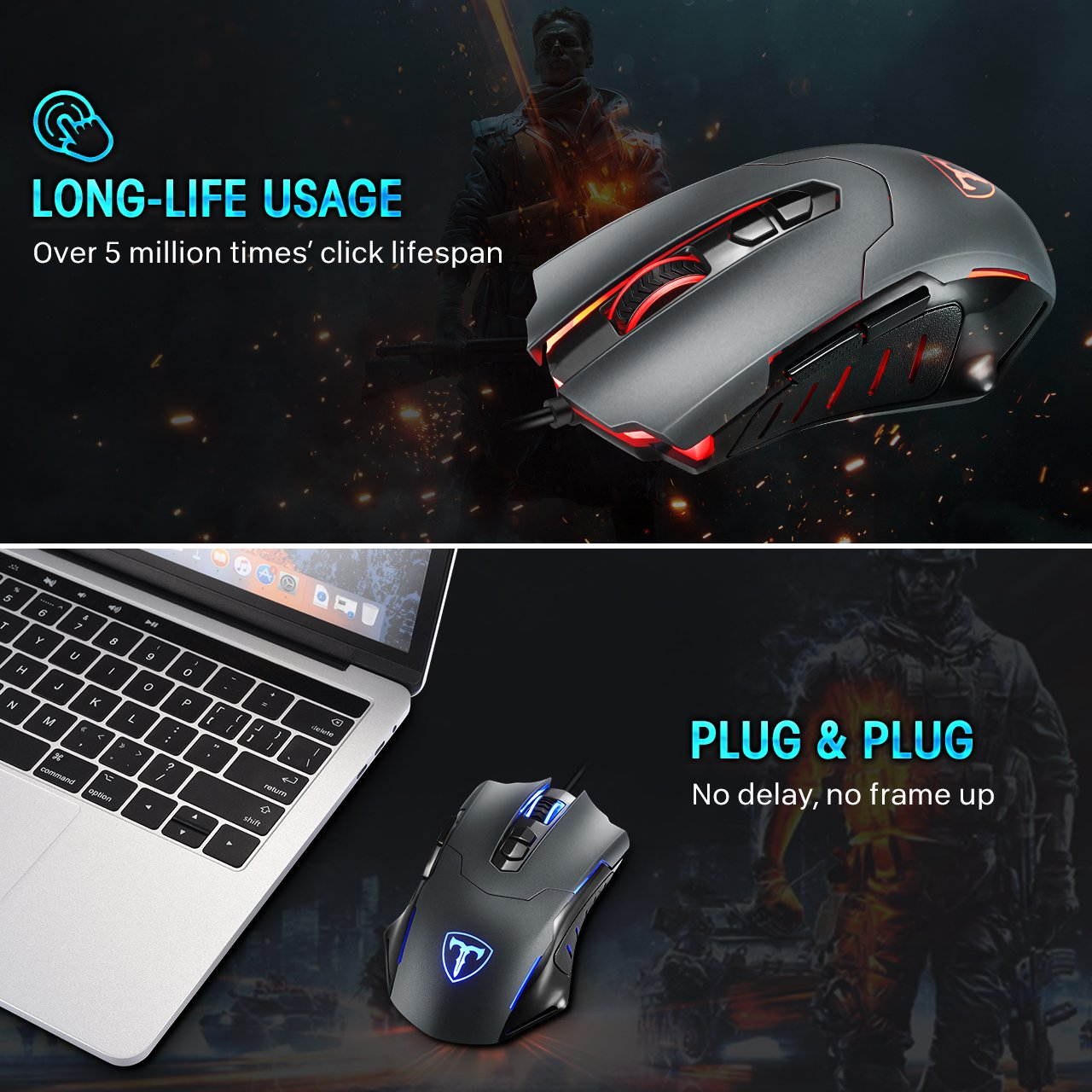 PICTEK Gaming Mouse Wired [7200 DPI] [Programmable