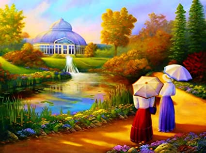 lakes pond water art house nature painting HD Wallpaper on Satin Paper Hi Quality on 36x24 Print: Amazon.in: Home & Kitchen