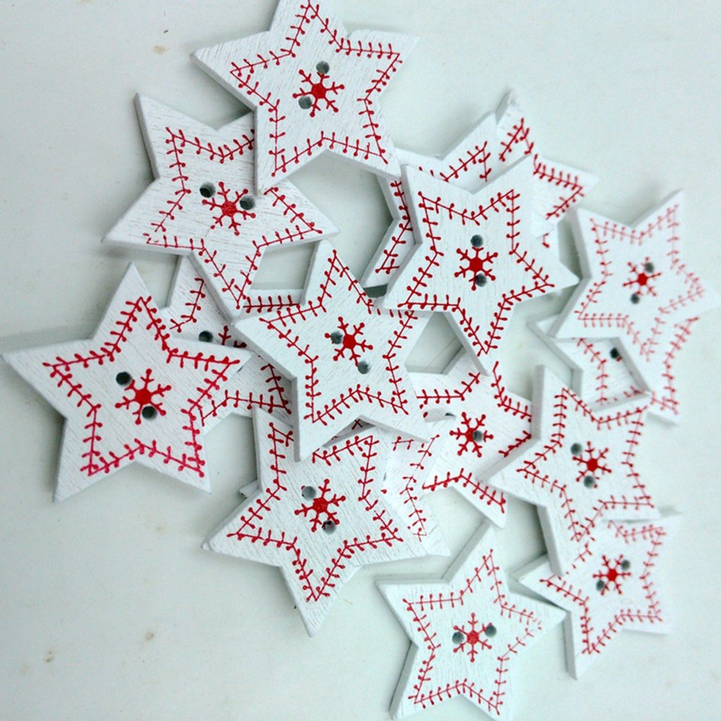 Buttons 50pcs Christmas Holiday Wooden Collection Snowflakes Buttons Snowflakes Embellishments 18mm Creative Decoration A Complete Range Of Specifications