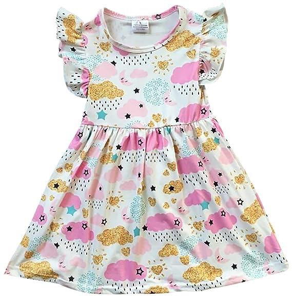 45e72e0ca Amazon.com  Little Girls Lovely Cap Sleeve Cloud Rain Moon Cotton ...