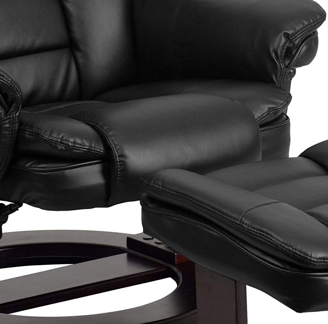 Flash Furniture BT-7818-BK-GG Contemporary Black Leather Recliner//Ottoman with Swiveling Mahogany Wood Base