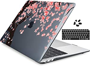 Dongke for MacBook Air 13 inch Case 2020 2019 2018 Release Model A2337 M1/A2179/A1932, Crystal Black Hard Shell Case Cover for MacBook Air 13.3 inch Fit Touch ID and Retina Display Cherry Blossom