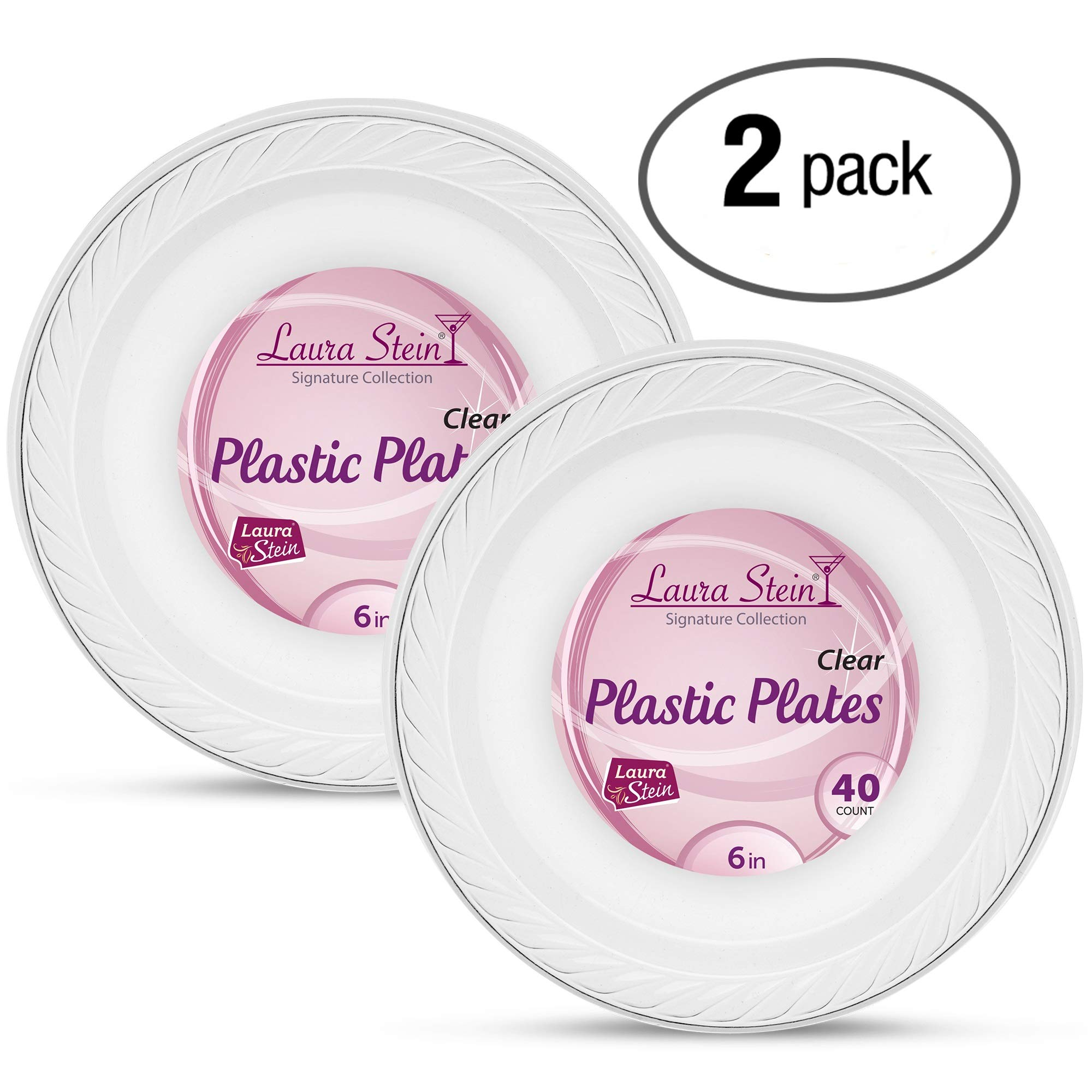 Laura Stein Clear Plastic 6 Inch Disposable Plates Pack of 80 Clear Palstic Plates