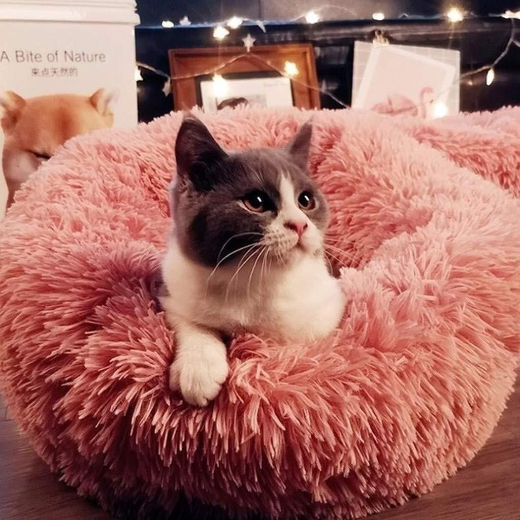 Elasticidad de lana completa Gatos y perros cama para mascotas Nido de gato Nido de perro Perrera de peluche Beige, XL