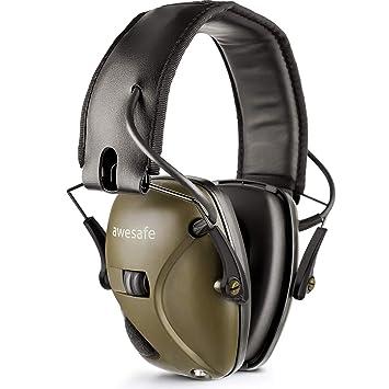 awesafe GF01 Protector auditivo electrónico, reducción de ruido y amplificación de sonido seguridad electrónica, NNR 22 dB. Ideal para la caza y el ...