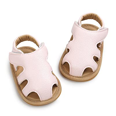 Baby Boys Girls Infant First Walkers Soft Leather No-Slip Baby Shoes