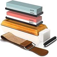 BRITOR Knife Sharpening Stone Kit, Professional Knife Sharpeners Whetstone Sharpener, Whetstones Includes Flattening…