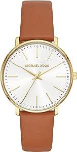 ساعة مايكل كورس للنساء كوارتز من الفولاذ المقاوم للصدأ، ساعة يد كاجوال من الجلد – اللون: بني (الموديل: MK2740)