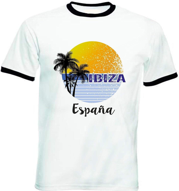 teesquare1st Ibiza Spain Tshirt de Hombre con Bordes Negros T-Shirt: Amazon.es: Ropa y accesorios