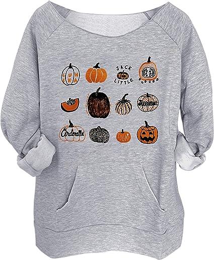 Halloween Pumpkin Face Bat Pocket Sweatshirt Women Spider Printed Pullover Top