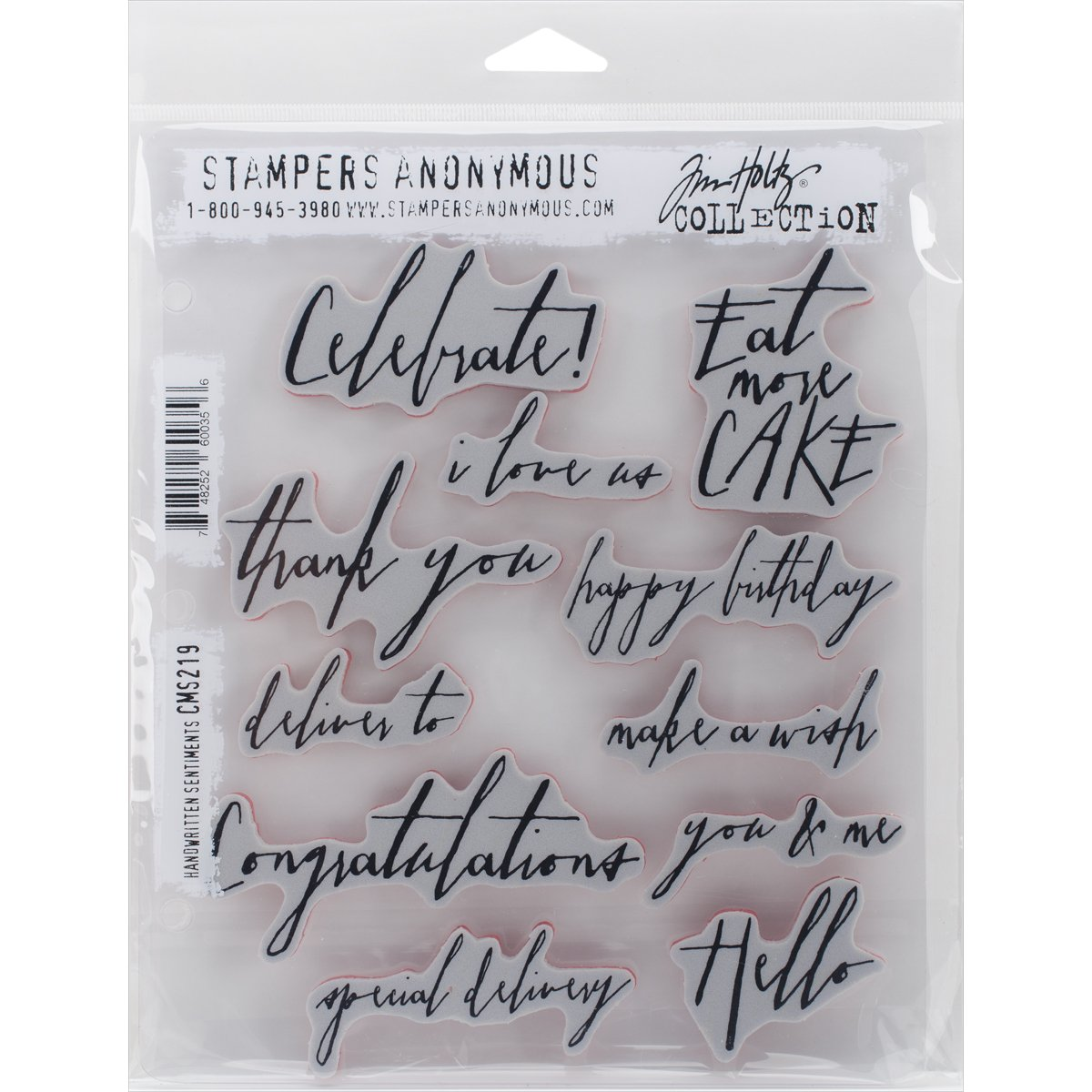 Stampers Anonymous CMS-219 Tim Holtz Cling Rubber Handwritten Sentiments Stamp Set, 7 X 8.5 7 X 8.5 Notions