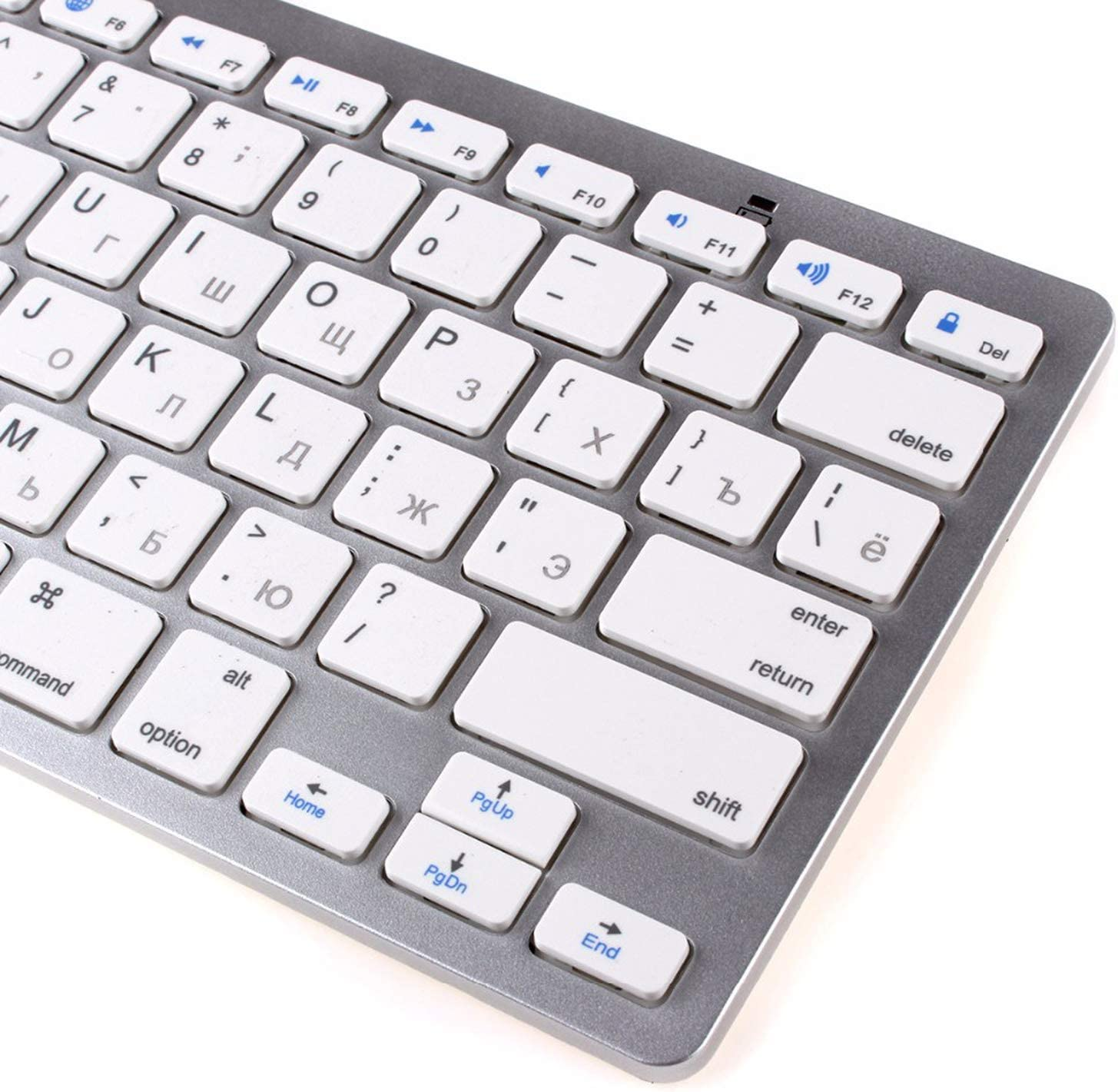 Russian Wireless Bluetooth 3.0 Keyboard for Tablet Laptop Smartphone Support iOS Windows Android System Silver and Black,Black English Letter