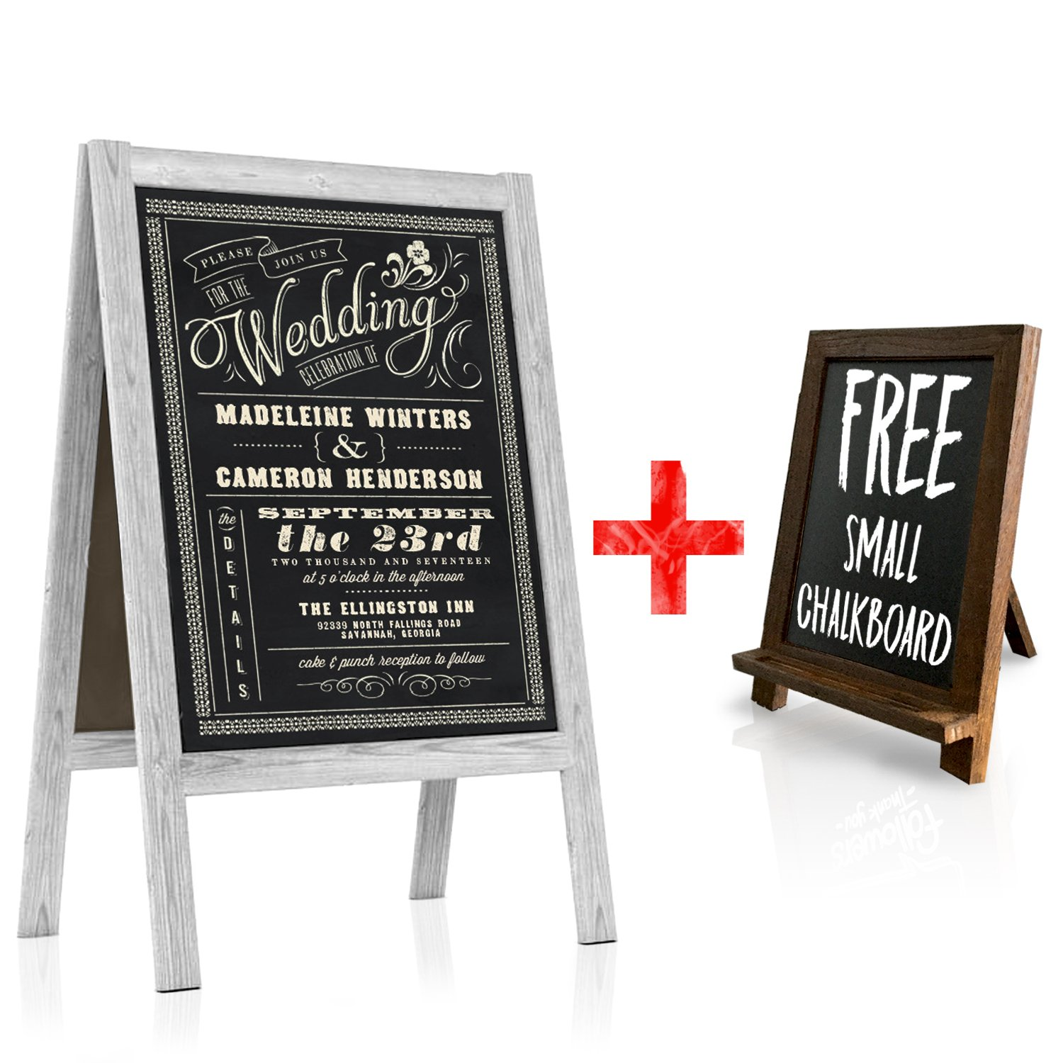 Chalkboard Wedding Sign - Large A Frame Standing Sidewalk | Vintage Sandwich Board Style with Rustic White Wood A-Frame for Indoor & Outdoor Use | Restaurant Menus, Cafe Specials, Business Displays Artsy Rhino