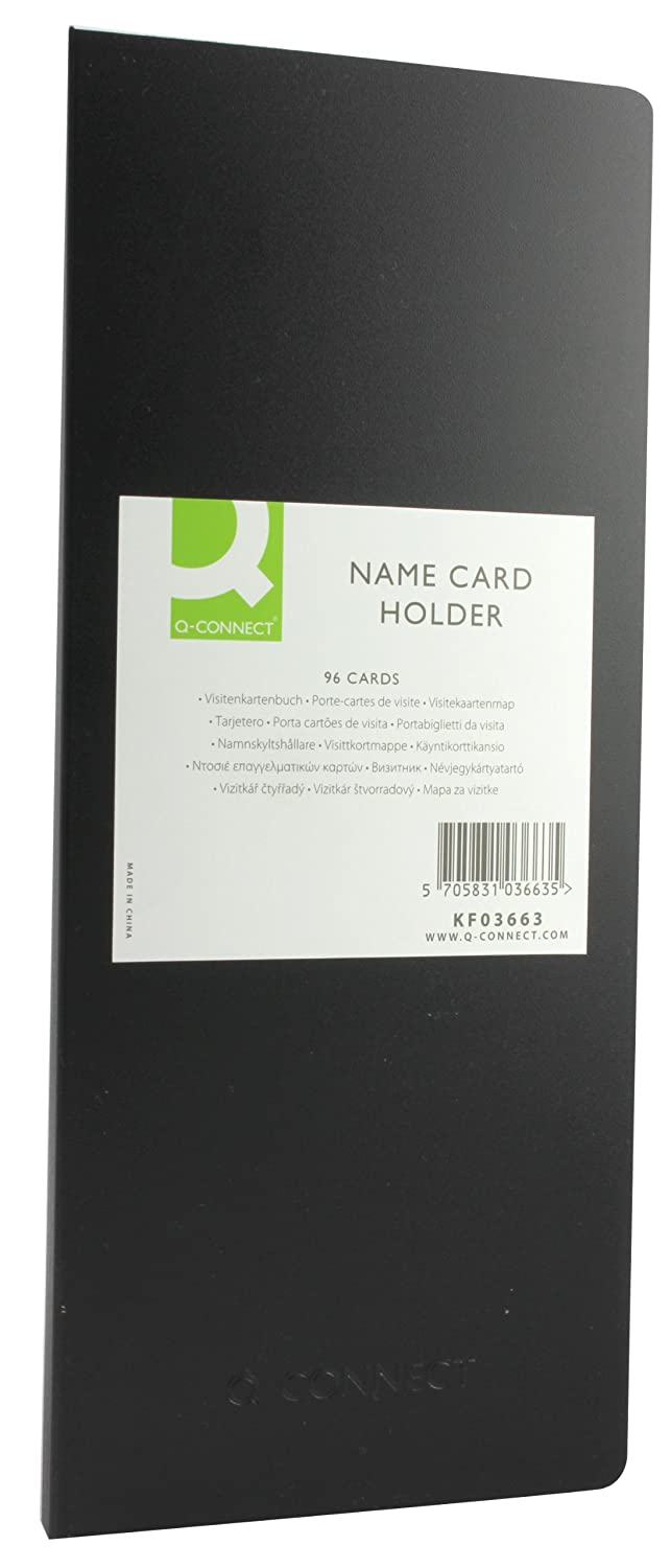 Q Connect Business Name Card Holder 96 Cards Capacity Black
