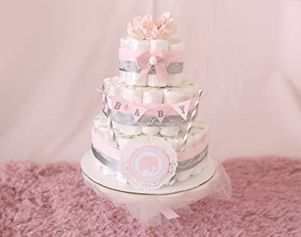 Amazoncom Baby Girl Pink Gray Diaper Cake Shower Centerpiece