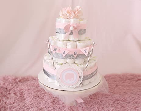 Amazon baby girl pink gray diaper cake shower centerpiece baby girl pink gray diaper cake shower centerpiece elephant elegant flower for negle Choice Image