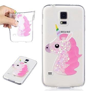 Funda Samsung Galaxy S5 Transparente Unicornio 3D Bling ...