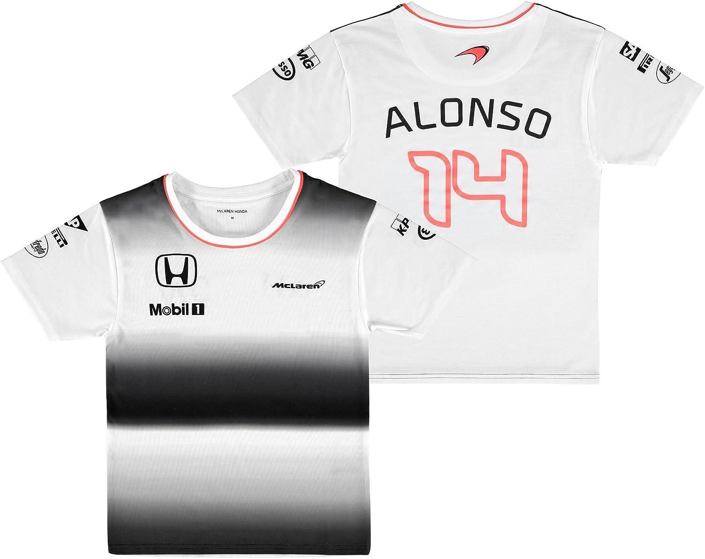 McLaren Honda Fernando Alonso Team T-Shirt Kids White Childrens Small