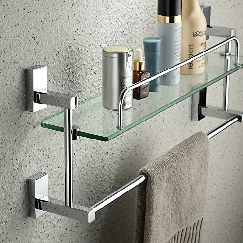 YUTU JL01 Chrome Solid Brass Cosmetic Holder Shelf with Towel Bar Rctangular Bathroom Glass Rack Wall Mounted Single Layer
