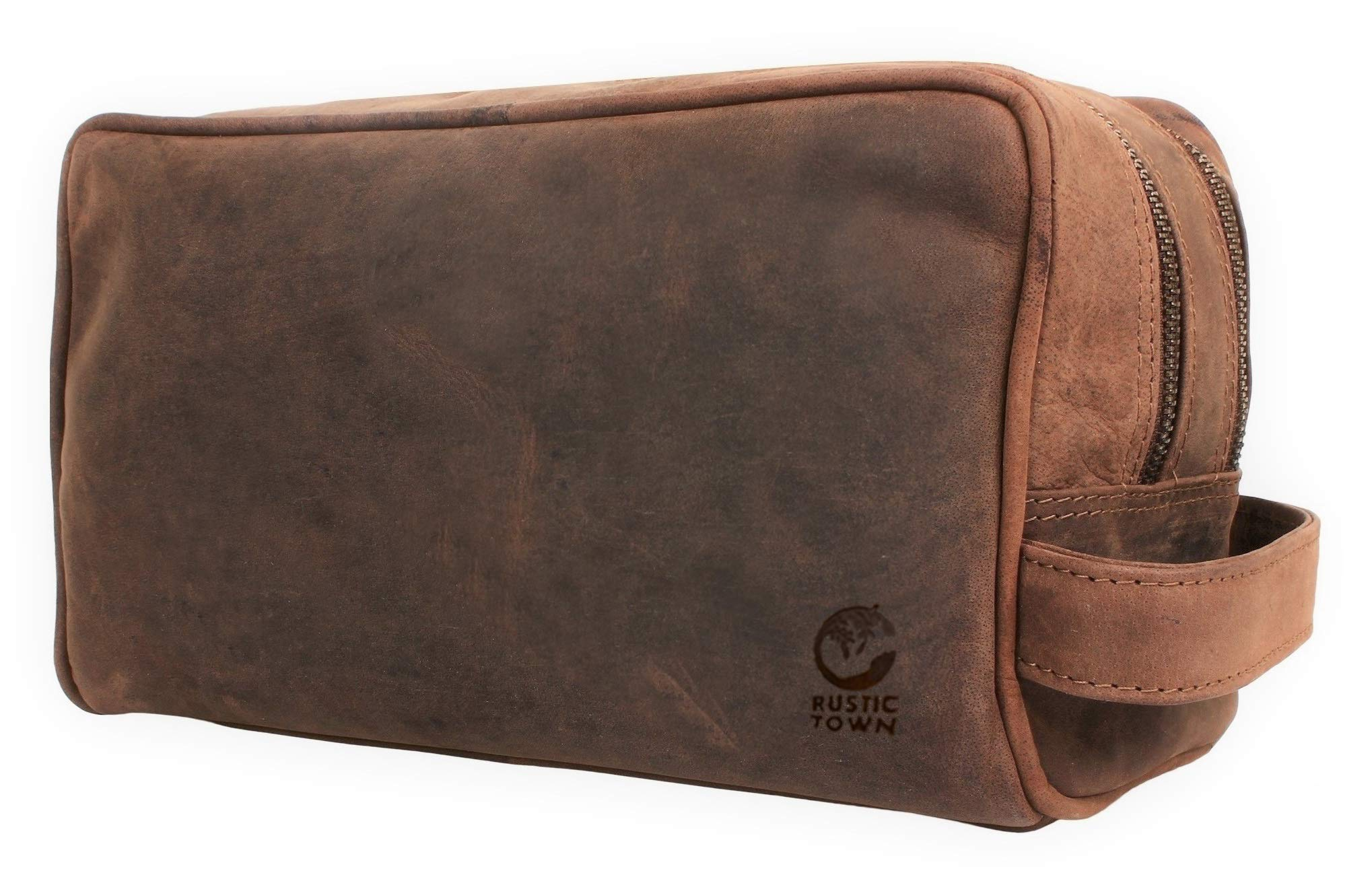 Genuine Leather Travel Toiletry Bag - Dopp Kit Organizer By Rustic Town (Dark Brown) by Rustic Town