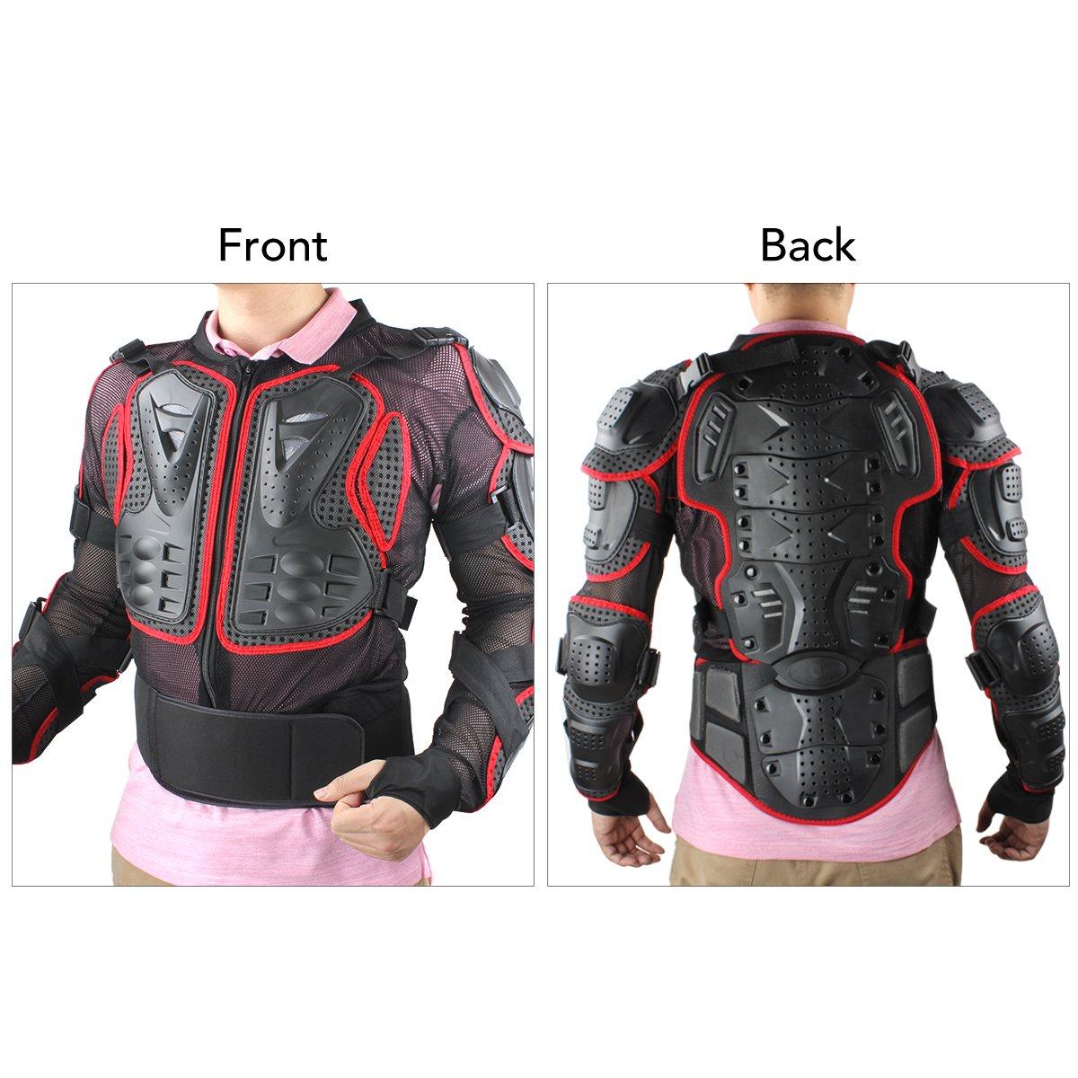 XL, nero GES Moto Protezione armatura da motocicletta Indumenti di Protezione Corpo Armatura Completa Moto Professionale Sportivo per gli uomini abbigliamento protettivo da corsa