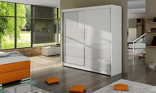 Armario Fabio 1 – Blanco – 180 cm de ancho – puertas correderas: Amazon.es: Hogar