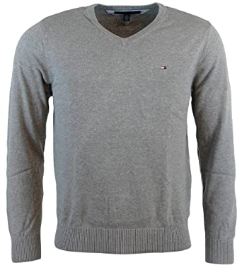25e10af3446319 Tommy Hilfiger Men's V-Neck Long Sleeve Pacific Pullover Sweater: Amazon.co. uk: Clothing