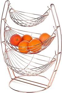 MyGift 3-Tier Rose Gold-Tone Metal Hammock-Style Produce Fruit Storage Baskets