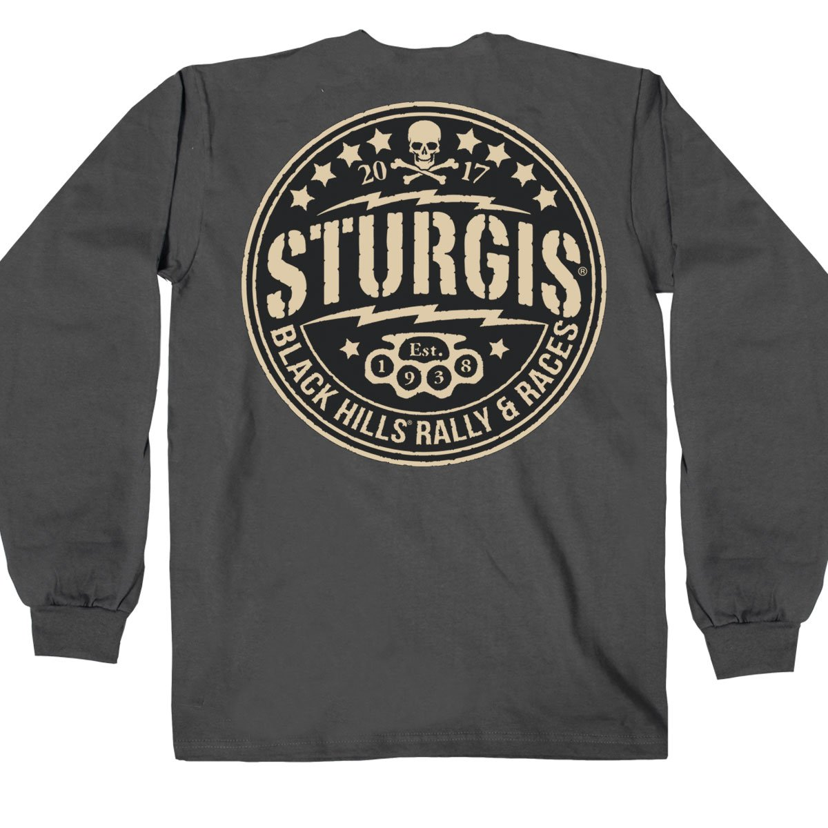 Hot Leathers Mens Official 2017 Sturgis Circle Logo Long Sleeve Charcoal, XXX-Large