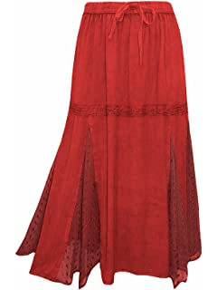 b3a51b44df4bc8 Un-Poco Burgundy Wine Stonewashed Long Boho Gypsy Folk Midi Maxi Skirt Plus  Size 18