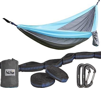 hammock   camping double hammock  portable parachute nylon hammock with tree straps  u0026 alloy carabiners amazon    hammock   camping double hammock  portable parachute      rh   amazon