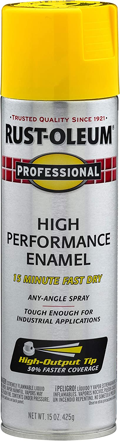 Rust-Oleum, Safety Yellow 7543838 Professional High Performance Enamel Spray Paint, 15 oz