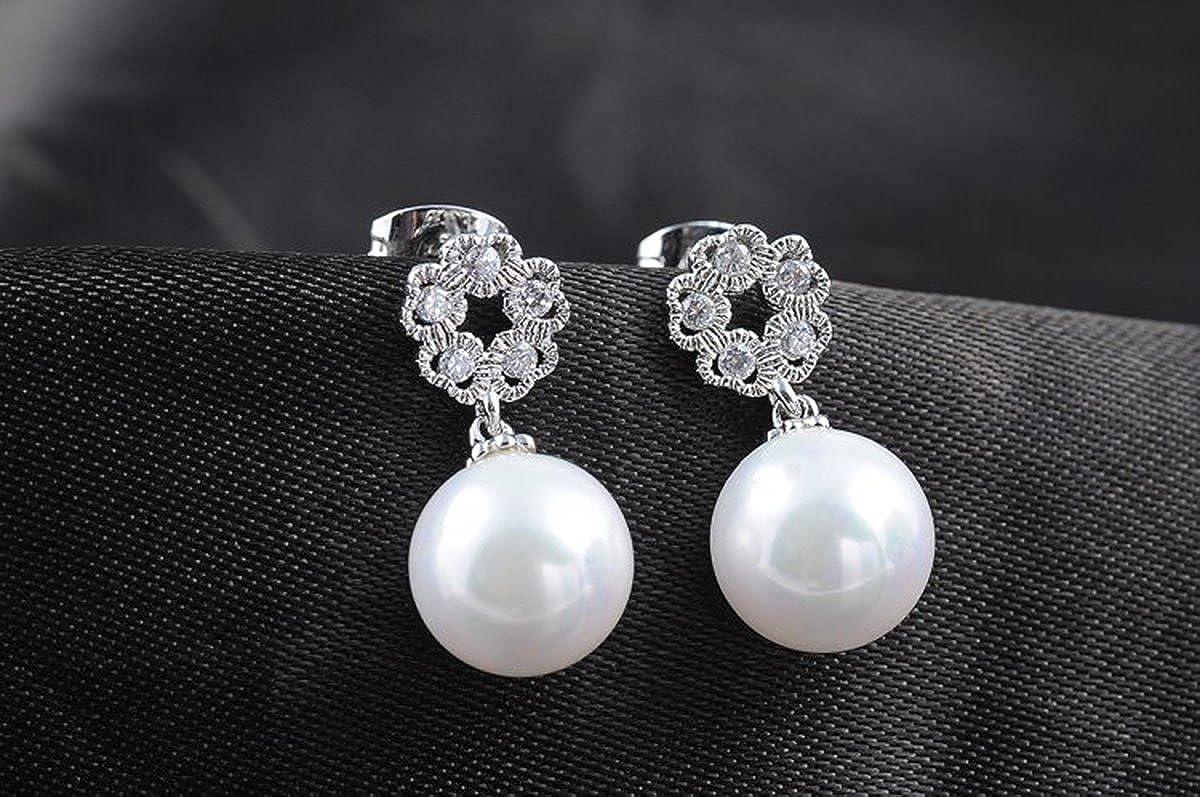 Gorgeous Women White Gold Plated White Pearl Shiny Flower Zircon Ear Pendant Earrings