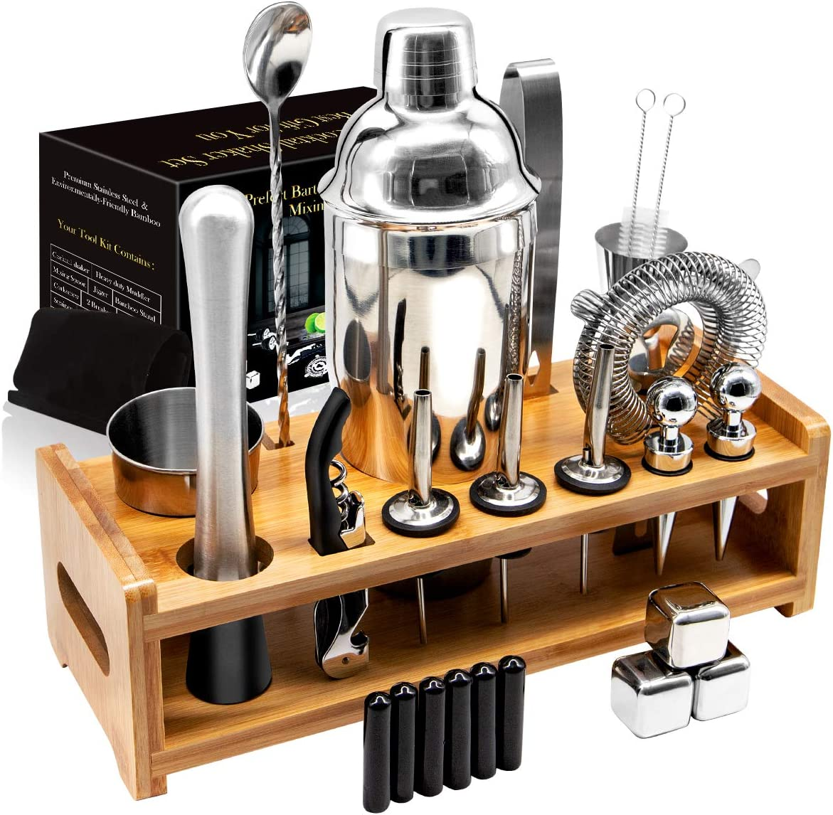 26Pcs Stainless Steel Cocktail Bar Tool Set,Perfect Bar Accessories for Home Bar Set and Martini Mixer Kit with Bamboo Stand for Making Awesome Drink Mixing Experience Ideal Gift Set