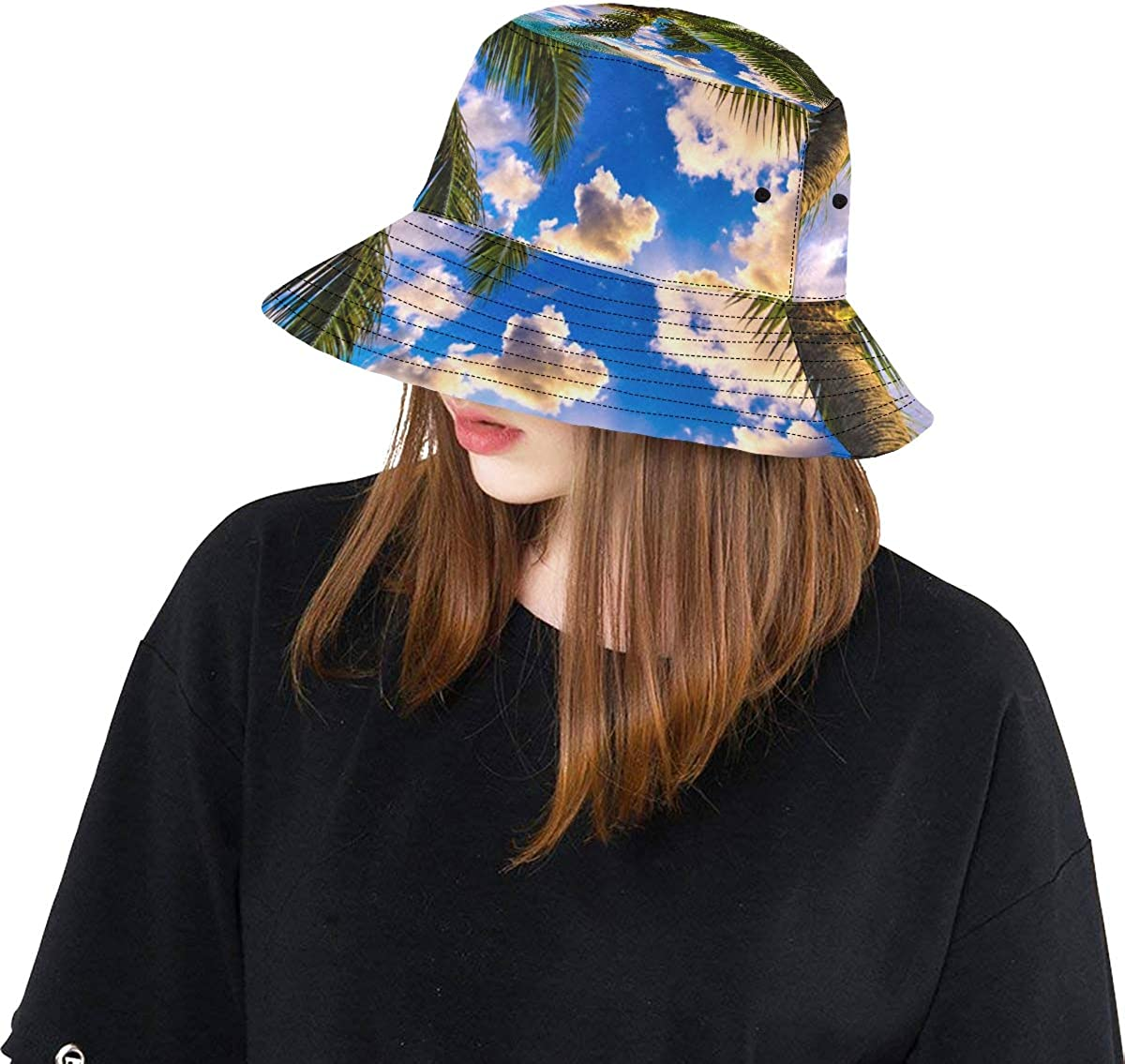 Hawaii Sunrise Landscape Summer Unisex Fishing Sun Top Bucket Hats for Kid Teens Women and Men with Packable Fisherman Cap for Outdoor Baseball Sport Picnic