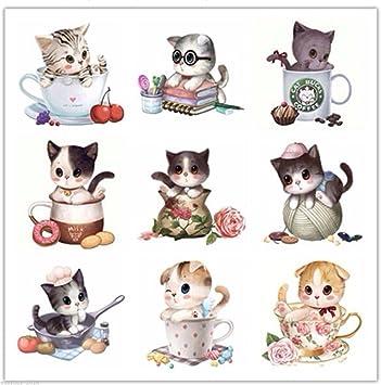 9 pcs/juego gatos bordado 5d Diamond DIY pintura de diamante de punto de cruz: Amazon.es: Juguetes y juegos