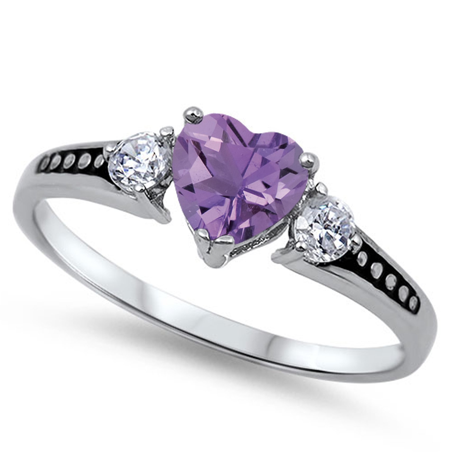 925 Sterling Silver Faceted Natural Genuine Purple Amethyst Heart Promise Ring Size 12