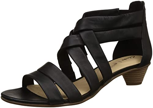 18f6e100cefd Clarks Women s MENA Silk Black Leather Fashion Sandals-8 UK India (42 EU