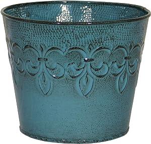 Robert Allen MPT01642 Fluer De Lis Series Metal Planter Flower Pot, 10, 8
