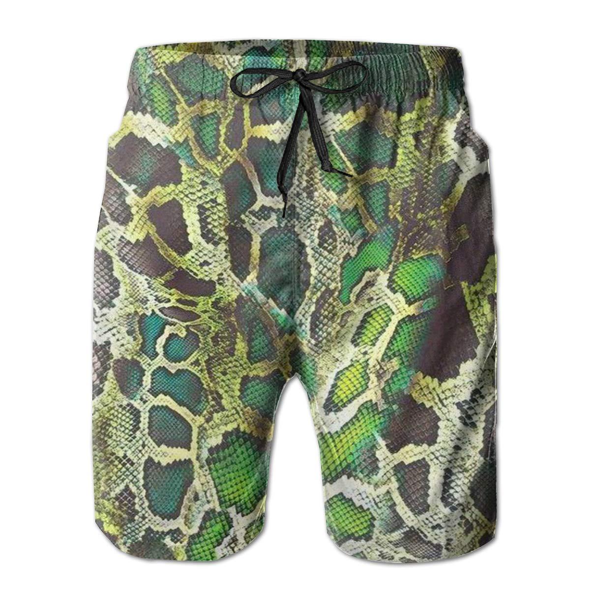 Emerald Boa Skin Mens Quick Dry Swim Trunks Beach Shorts with Mesh Lining