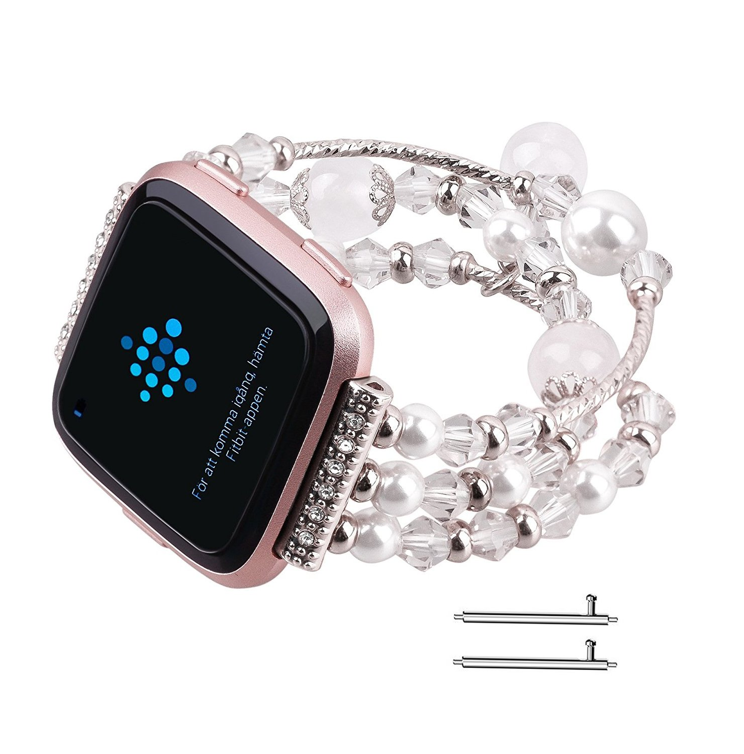 Fitbit Versa Bands, Vintage Fashion Handmade Elastic Stretch Faux Pearl Bracelet Replacement Women Girls Wristband Strap for Fitbit Versa Smartwatch (White)