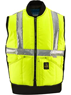 e7073c5bf0e8 RefrigiWear Men s Insulated Iron-Tuff Hivis Safety Vest - ANSI Class 2 High  Visibility with