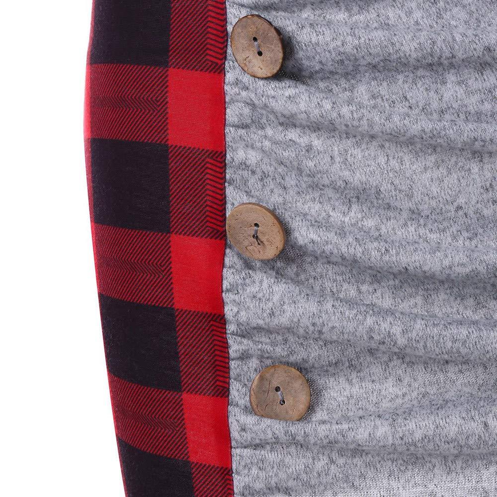 YanHoo Top in Felpa Lunga Vintage con Bottoni in Patchwork a Collo Alto con Coulisse Abito Coat da Donna,Felpa Donna,Casual Hoodies Maglietta Giacca da Donna