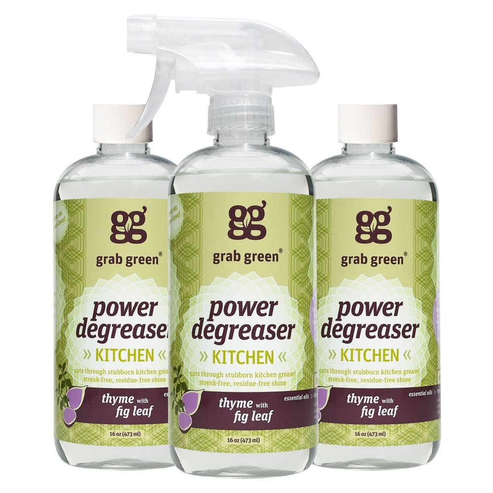 Grab Green Natural Power Degreaser Cleaner, Thyme with Fig Leaf, 16 Ounce (Pack of 3)