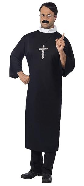 Smiffys Smiffys-20422L Disfraz de Cura, con túnica Larga y Cuello ...