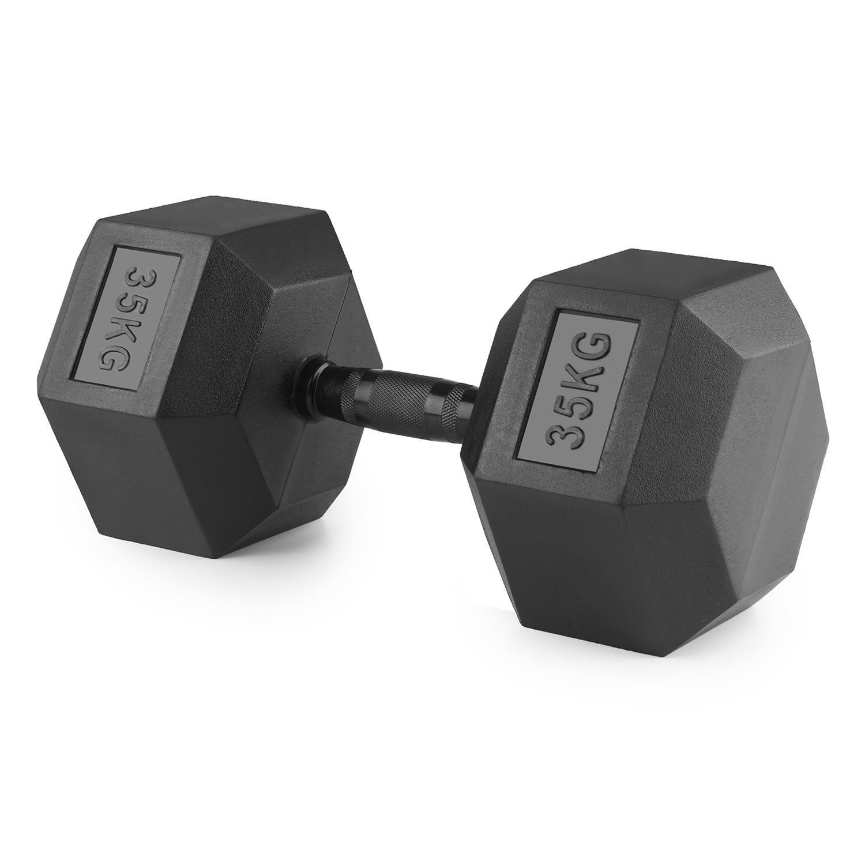 CAPITAL SPORTS Hexbell Mancuerna hexagonal 35kg peso (Pesa corta recubierta goma resistente golpes, barra 11cm, agarre antideslizante) - Negro: Amazon.es: ...