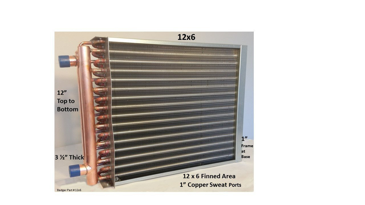 Water to Air Heat Exchanger 12x6~1'' Copper Ports w/EZ Install Front Flange