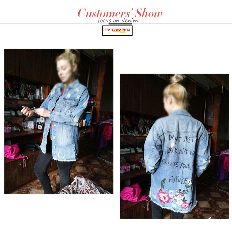 Aancy Floral Embroidery Jacket Coat Spring Long Ripped Denim Jacket Women Plus Size Jeans Jacket Women 2018 Tops 3XL